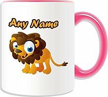 Personalisiertes Geschenk–Becher Löwe big-eye (Animal Design Thema, Farbe Optionen)–alle Nachricht/Name auf Ihre einzigartige Tasse, keramik, Pink