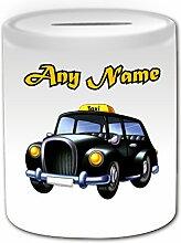 Personalisiertes Geschenk–Black Cab Spardose (Design Thema, weiß)–Für jede Nachricht/Name auf Ihrer Einzigartig–London Taxi Hackney Kutsche Hack Fahrzeug Automarke Buenos Treiber TAXICAB Public Hire