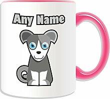 Personalisiertes Geschenk–Border Terrier Becher (Animal Hund Design Thema, Farbe Optionen)–alle Nachricht/Name auf Ihre einzigartige Tasse–Puppy, keramik, rose