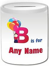 Personalisiertes Geschenk–Buchstabe B für Geld Box (Alphabet Design Thema, weiß)–alle Nachricht/Name auf Ihre einzigartige–A B C D E F G H I J K L M N O P Q R S T U V W x Y Z Initiale niedlicher Symbol phonetische Bravo Ballon