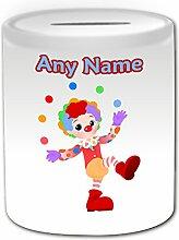 Personalisiertes Geschenk–Clown Jonglieren mit Kugeln Spardose (Karriere Design Thema, weiß)–alle Nachricht/Name auf Ihre einzigartige–Circus Play Jonglieren Besatzung