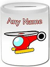 Personalisiertes Geschenk–Cute Hubschrauber Spardose (Design Thema, weiß)–Für jede Nachricht/Name auf Ihrem Einzigartig–Blue Sky Aircraft hubschraubertypen Copter Flight Aviator Pilot Spielzeug