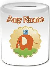 Personalisiertes Geschenk–Elefant mit Schnecke, Spardose (Animal Design Thema, weiß)–alle Nachricht/Name auf Ihre einzigartige