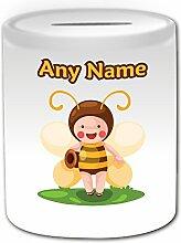 Personalisiertes Geschenk–Elfe Bee mit Honig Spardose (Märchen Design Thema, weiß)–alle Nachricht/Name auf Ihre einzigartige
