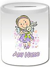 Personalisiertes Geschenk–Engel Mädchen mit Bunny Spardose (Love Design Thema, weiß)–alle Nachricht/Name auf Ihre einzigartige–Kaninchen Spielzeug