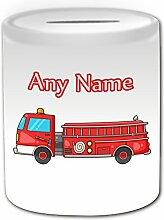 Personalisiertes Geschenk–Fire Engine Spardose (Design Thema, weiß)–Für jede Nachricht/Name auf Ihrem Einzigartige–Truck Fahrzeug Feuerwehr Fighter Rettungsdienst 999Treiber Automarke Apparat Appliance Feuerwehr Firefighter