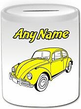 Personalisiertes Geschenk–Gelb Classic Beetle Spardose (Design Thema, weiß)–Für jede Nachricht/Name auf Ihrem Einzigartig–VW Volkswagen Fahrzeug Auto Automarke Bug Cute Treiber Automarke Retro Altmodisch vintage