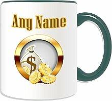 Personalisiertes Geschenk–Golden Münzen und Geld Tasche Tasse (Casino Design Thema, Farbe Optionen)–alle Nachricht/Name auf Ihre einzigartige–Dollar Cash Gold Medaille Treasure, keramik, Grün