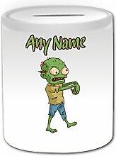 Personalisiertes Geschenk–Grün Zombie mit Gehirn SPARDOSE (Scary Design Thema, weiß)–alle Nachricht/Name auf Ihre einzigartige–Evil Outbreak Undead Walking Dead Voodoo Bloody Apokalypse