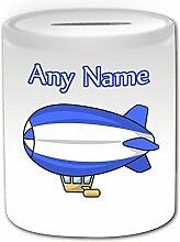 Personalisiertes Geschenk–Luftschiff Spardose (Design Thema, weiß)–Für jede Nachricht/Name auf Ihr Einzigartig–Hot Air Ballon Flugzeug Schiff Aerostat Luftschiff Aviator Pilo