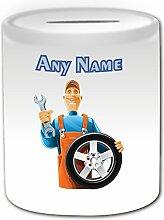 Personalisiertes Geschenk–Mechaniker mit Auto Rad Spardose (Karriere Design Thema, weiß)–alle Nachricht/Name auf Ihre einzigartige Spardose–Ingenieur Garage Worker Staff Fahrzeug