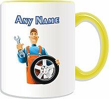 Personalisiertes Geschenk–Mechaniker mit Auto Rad Tasse (Karriere Design Thema, Farbe Optionen)–alle Nachricht/Name auf Ihre einzigartige Tasse–Ingenieur Garage Worker Staff Fahrzeug, keramik, Gelb