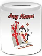 Personalisiertes Geschenk–Pinguin mit Weihnachtsgeschenk Geld Box (Merry Xmas Design Thema, weiß)–jedes Nachricht/Name auf Ihre einzigartige–Sack