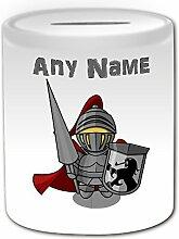 Personalisiertes Geschenk–Ritter mit Lanze Spardose (Märchen Design Thema, weiß)–alle Nachricht/Name auf Ihre einzigartige–Shield Umhang Helm Armour Infanterie