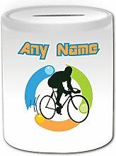 Personalisiertes Geschenk–Road Fahrrad Spardose (Sport Outline Design Thema, weiß)–alle Nachricht/Name auf Ihre einzigartige–Fahrrad Touring Racing, Reiten