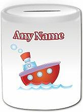 Personalisiertes Geschenk–Rot Dampf Schiff Spardose (Design Thema, weiß)–Für jede Nachricht/Name auf Treiber für Ihre Einzigartig–Wasser Boot Cruiser Kabine Yacht Dampfschiffe Dampfgarer Steamboat Motor