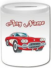 Personalisiertes Geschenk–Rot Vintage Race Auto Spardose (Design Thema, weiß)–Für jede Nachricht/Name auf Ihr Einzigartig–PKW Automobil-Sportwagens Classic Retro Altmodisch Sport Antik Treiber