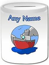 Personalisiertes Geschenk–Schiff Spardose (Design Thema, weiß)–Für jede Nachricht/Name auf Ihrem Einzigartige–Wasser Boot Cruiser Kabine Yacht Motor Sailer Treiber Sea Ocean
