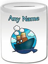 Personalisiertes Geschenk–Steam Schiff Spardose (Design Thema, weiß)–Für jede Nachricht/Name auf Ihrem Einzigartige–Wasser Boot Cruiser Kabine Yacht Dampfschiffe Dampfgarer Steamboat Motor Sea Ocean Sailer