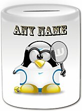 Personalisiertes Geschenk–Tennis Player mit Haarband in weiß Spardose (Design Pinguin in Kostüm Thema, weiß)–Jede Nachricht/Name auf Ihrem Einzigartig–rafae Nadal