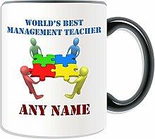 Personalisiertes Geschenk–World 's Best Management Lehrer/Team Work Becher (Akademischer Design Thema, Farbe Optionen)–Jeder Name/Nachricht auf Ihr Einzigartiges–Schule College Universität–Netzwerk, keramik, schwarz