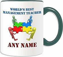 Personalisiertes Geschenk–World 's Best Management Lehrer/Team Work Becher (Akademischer Design Thema, Farbe Optionen)–Jeder Name/Nachricht auf Ihr Einzigartiges–Schule College Universität–Netzwerk, keramik, Grün