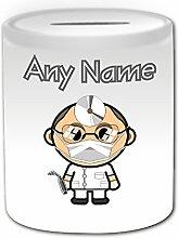Personalisiertes Geschenk–Zahnarzt mit Brille Spardose (Karriere Design Thema, weiß)–alle Nachricht/Name auf Ihre einzigartige–Stecker Bald Medical Maske Stirnlampe Dental Werkzeug Praxis Besatzung