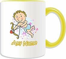 Personalisiertes Geschenk Becher–Amor Boy (Love Design Thema, Farbe Optionen)–Jeder Name/Nachricht auf Ihre einzigartige Tasse–Bogen Pfeil, keramik, Gelb