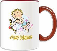 Personalisiertes Geschenk Becher–Amor Boy (Love Design Thema, Farbe Optionen)–Jeder Name/Nachricht auf Ihre einzigartige Tasse–Bogen Pfeil, keramik, Ro