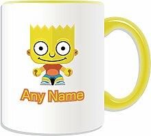 Personalisiertes Geschenk Becher–Boy (Simpsons Familie Design Thema, Farbe Optionen)–Jede Nachricht/Name auf Ihre einzigartige Tasse–Bart, keramik, gelb