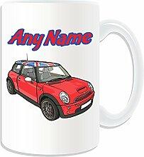 Personalisiertes Geschenk, groß, Rot Mini Cooper