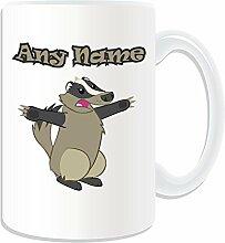 Personalisiertes Geschenk, großer Badger Tasse (Animal Design Thema, weiß)–alle Nachricht/Name auf Ihre einzigartige