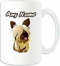 Personalisiertes Geschenk, großer big-eye Skye Terrier Tasse (Animal Hund Design Thema, weiß)–alle Nachricht/Name auf Ihre einzigartige; Becher Puppy