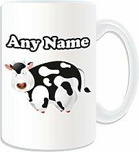 Personalisiertes Geschenk, großer Kuh Tasse (Animal Design Thema, weiß)–alle Nachricht/Name auf Ihre einzigartige Tasse