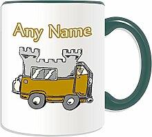 Personalisiertes Geschenk –: Tasse (Design Thema, Farbe Optionen)–Für jede Nachricht/Name auf Ihrem Einzigartig–Camper Van Mobile Wohnmobil auto-sleeper Castle Travel caravanette Treiber, keramik, grün