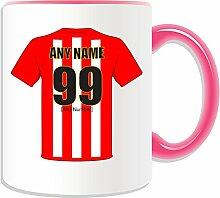 Personalisiertes Sheffield United-Becher-Fußball-Club-Design, verschiedene Farben) Nachricht/Name auf das einzigartige Becher-Die Klingen rot und weiß Assistenten Army, keramik, rose