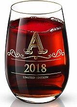 Personalisiertes Weinglas mit Initiale 2018 (A-Z)