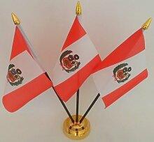 Peru peruanischen State Crest 3Flagge Desktop Tisch mit Gold Boden