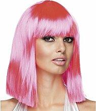Perücke schulterlang Pink