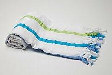 """Pestemal Peshtemal Hamamtuch SEERSUCKER Version grün-türkis von """"my Hamam"""" Badetuch Saunatuch Handtuch Yogadecke Baby-Wickeltuch, Stola 100%Baumwolle, Cotton,Turkish Hamam Towel"""
