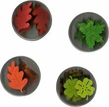 Petra's Bastel News A-LA4DF2 Dosenset farbige Blätter II, bestehend aus 4 verschiedenen Designs 4 Farben, 4-teiliges, holz