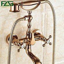 Petrichore Gold-Wand-Badezimmer mit Dusche Wasserhahn Badewannenhahn Handbrause Wasserhahn Rose