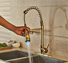 Petrichore LED Wasserhahn Küche Spüle Wasserhahn Einhebel herausziehen Mischbatterie mit Abdeckplatte