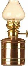Petroleumlampe ELBE 1 Öllampe aus Kupfer mit Messingbändern, poliert, unlackiert, transparentes Glas in Tulpenform, Füllmenge ca. 140 ml, Höhe 170 mm