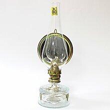 Petroleumlampe MIRO, transparenter Glasbehälter, verstellbarer Seitenspiegel mit Wandhalterung, hitzebeständiger Glaszylinder