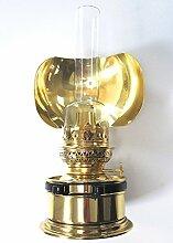 Petroleumlampe PANTRY, Messing, mit Seitenreflektor, kompakte und variable Öllampe als Tischlampe oder Wandlampe, Leuchtdauer ca. 20 Stunden