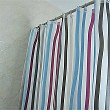 PEVA Material Badezimmer Duschvorhang Wasserdicht Moldy Verdickung Duschvorhang Vertikal Streifen Muster Hängen Vorhang ( größe : 240*180cm )
