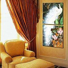 pfau wanduhr rahmenlose dekoriert weiß pfau leinwand gemalt wanduhr , 40*40cm