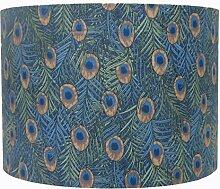 Pfauenfeder Lampenschirm, gemustert, blau/grün (16
