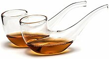 Pfeife Gläser mit Holzständer - Trinkgläser Whisky im 2er Se